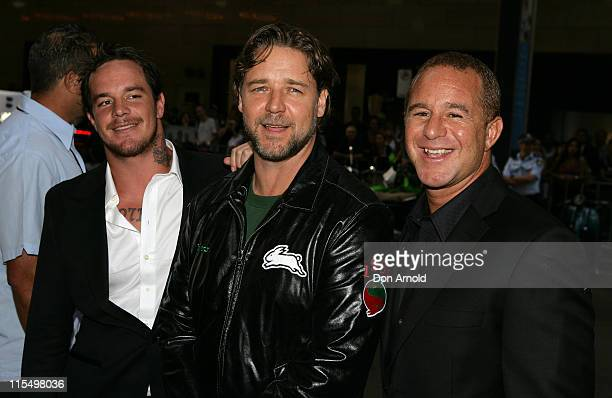 Koby Abberton Russell Crowe and Sunny Abberton during 'Bra Boys' Sydney Premiere Arrivals at State Theatre in Sydney NSW Australia