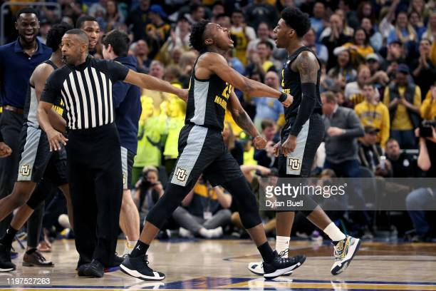 Koby McEwen of the Marquette Golden Eagles reacts in the second half against the Villanova Wildcats at the Fiserv Forum on January 04, 2020 in...
