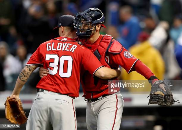 Koda Glover and Matt Wieters of the Washington Nationals celebrate the 31 win over the New York Mets on April 22 2017 at Citi Field in the Flushing...