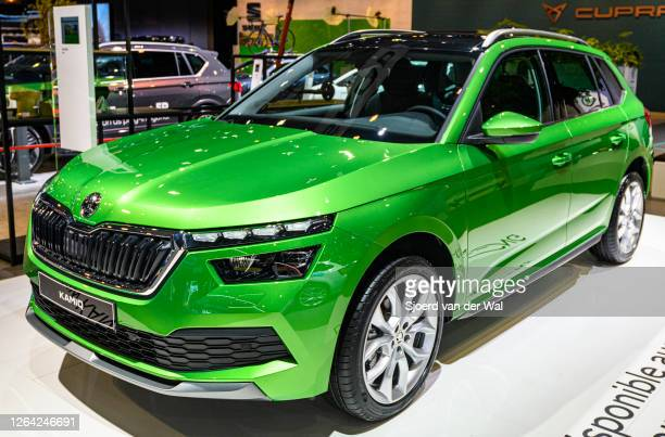 Škoda Kamiq crossover compact SUV three quarter front view on display at Brussels Expo on January 9, 2020 in Brussels, Belgium. The Skoda Kamiq is...