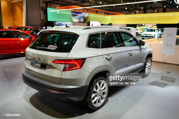 Škoda Karoq compact crossover SUV on display at Brussels Expo on January 9, 2020 in Brussels, Belgium. The Skoda Karoq is available with various...