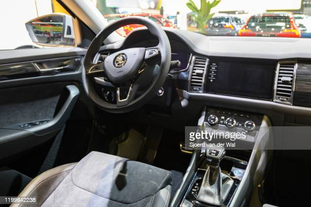 Škoda Kodiaq Scout SUV interior on display at Brussels Expo on January 9 2020 in Brussels Belgium The Skoda Kodiaq is available with various petrol...