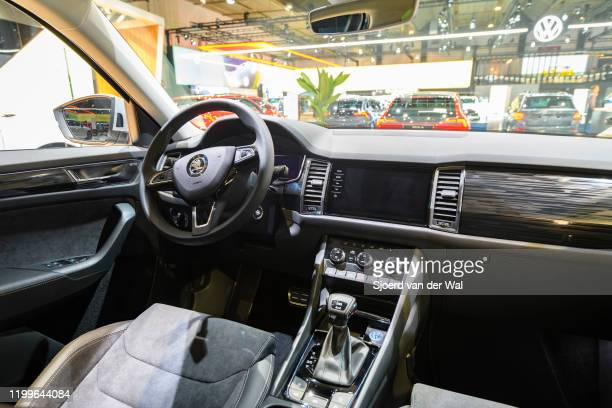 Škoda Kodiaq Scout SUV interior on display at Brussels Expo on January 9, 2020 in Brussels, Belgium. The Skoda Kodiaq is available with various...