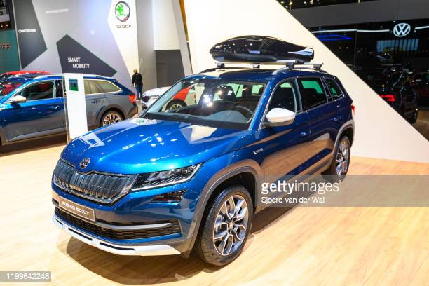Škoda Kodiaq Scout SUV on display at Brussels Expo on January 9 2020 in Brussels Belgium The Skoda Kodiaq is available with various petrol and diesel...
