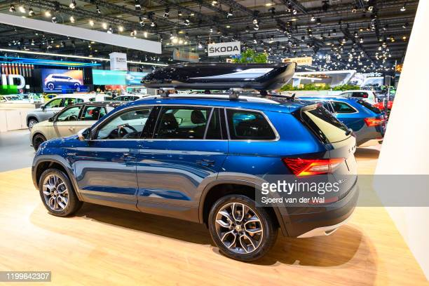 Škoda Kodiaq Scout SUV on display at Brussels Expo on January 9, 2020 in Brussels, Belgium. The Skoda Kodiaq is available with various petrol and...