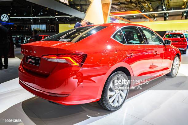 Škoda Octavia sedan on the Skoda motor show stand on display at Brussels Expo on January 9 2020 in Brussels Belgium The fourth generation of the...