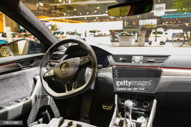 Škoda SupberB iV Sportline Plug-in hybrid sedan interior on display at Brussels Expo on January 9, 2020 in Brussels, Belgium. The third generation of...