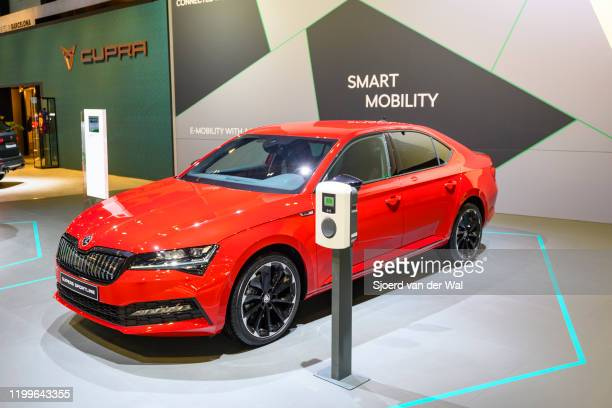 Škoda SupberB sedan in red three quarter front view on display at Brussels Expo on January 9 2020 in Brussels Belgium The third generation of the...