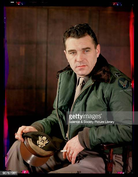 Kodachrome colour photograph of an unknown United States airman taken by JCA Redhead during World War Two This United States Army Air Force officer...
