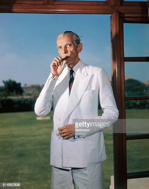 Kodachrome transparencies of Mohammed Ali Jinnah Governor General of Pakistan Photo shows Jinnah at doorway of his study in Government House Karachi...