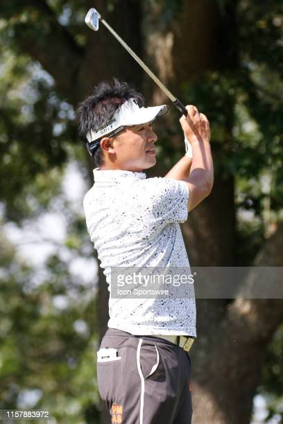 Kodai Ichihara plays his shot from the eighth tee during the second round of the World Golf Championships - FedEx St. Jude Invitational on July 26,...