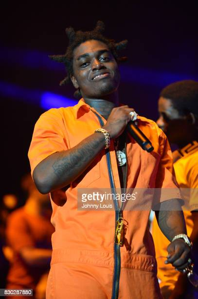 Kodak Black performs on stage at his Homecoming Concert first show since getting home from jail in June at Watsco Center on August 10 2017 in Coral...