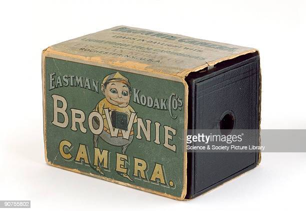 Kodak 'Brownie' box camera with original cardboard packing carton made by Eastman Kodak Co The camera was literally a cardboard box with a wooden end...