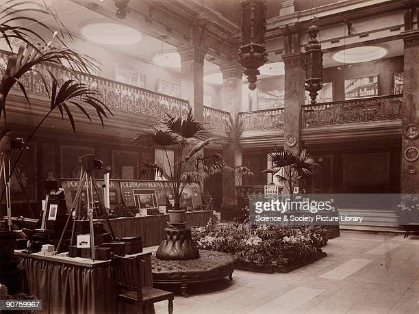 Kodak Exhibition interior 1897 Printing out paper print by E A R of a Kodak Exhibition interior designed by George Walton at the New Gallery Regent...
