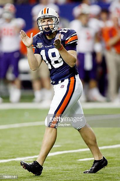 Kodi Burns of the Auburn University Tigers celebrates after a field goal during the ChickFilA Bowl on December 31 2007 at the Georgia Dome in Atlanta...