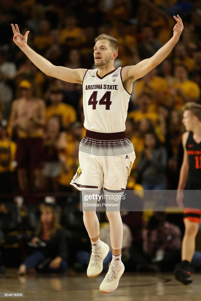 Kodi Justice #44 of the Arizona State Sun Devils reacts to a three-point shot against the Oregon State Beavers during the first half of the college basketball game at Wells Fargo Arena on January 13, 2018 in Tempe, Arizona.