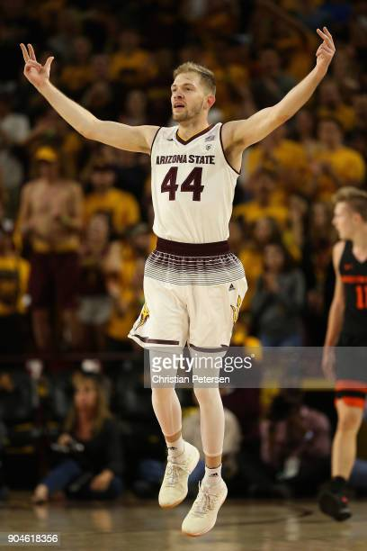Kodi Justice of the Arizona State Sun Devils reacts to a threepoint shot against the Oregon State Beavers during the first half of the college...