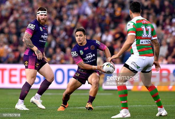 Kodi Nikorima of the Broncos looks to pass during the round 23 NRL match between the Brisbane Broncos and the South Sydney Rabbitohs at Suncorp...