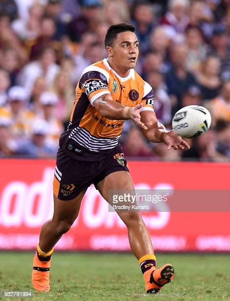 Kodi Nikorima of the Broncos passes the ball during the round two NRL match between the Brisbane Broncos and the North Queensland Cowboys at Suncorp...
