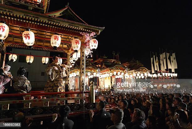 Kodomo Kabuki or Children Kabuki is performed on the floats during the Nagahama Hikiyama Festival on April 15 2013 in Nagahama Shiga Japan The...