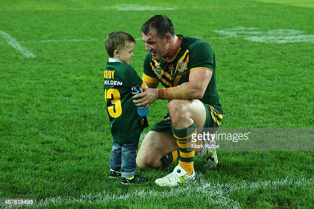 Kody Gallen speaks to his father Paul Gallen of the Kangaroos after the ANZAC Test match between the Australian Kangaroos and the New Zealand Kiwis...