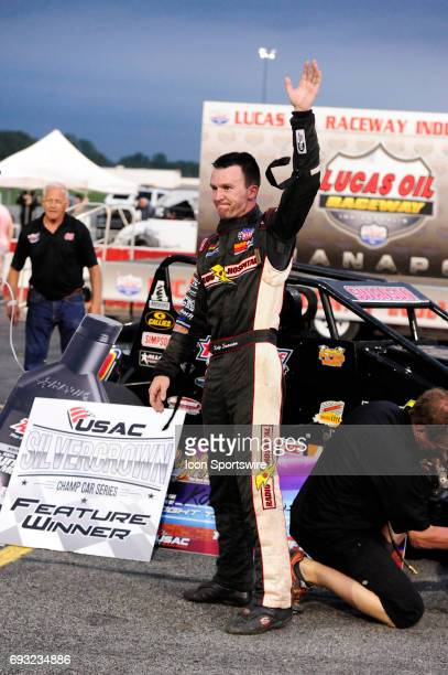 Kody Swanson DePalma Motorsports driver celebrates winning the Carb Night Classic United States Auto Club Silver Crown Champ Car Series 100lap...