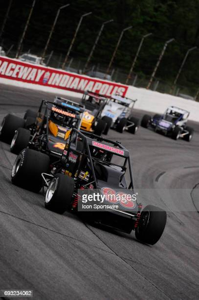 Kody Swanson DePalma Motorsports leads his brother Tanner Swanson Bowman Canine Racing and Bobby Santos DJ Racing in the Carb Night Classic United...