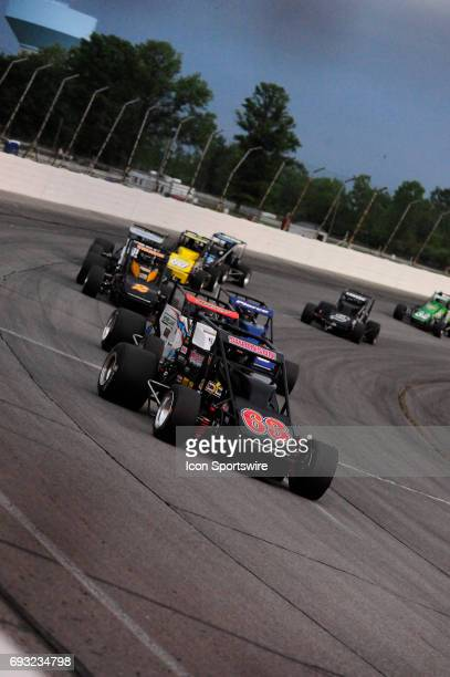 Kody Swanson DePalma Motorsports leads the Carb Night Classic United States Auto Club Silver Crown Champ Car Series 100lap feature Friday May 26 on...