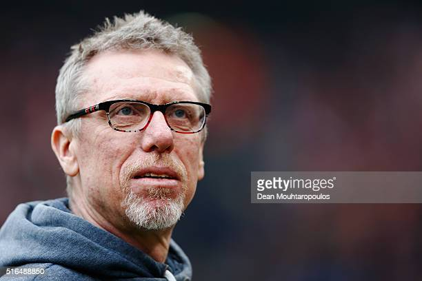 Koeln Head Coach / Manager, Peter Stoeger looks on prior to the Bundesliga match between 1. FC Koeln and FC Bayern Muenchen held at...