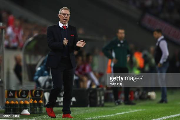 Koeln Manager / Head Coach Peter Stoger peaks to his players from the sideleines during the UEFA Europa League group H match between 1 FC Koeln and...
