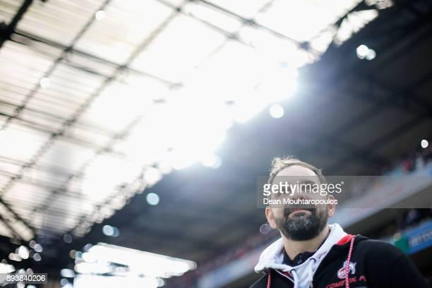 Koeln Manager / Head Coach Stefan Ruthenbeck looks on prior to the Bundesliga match between 1 FC Koeln and VfL Wolfsburg at RheinEnergieStadion on...