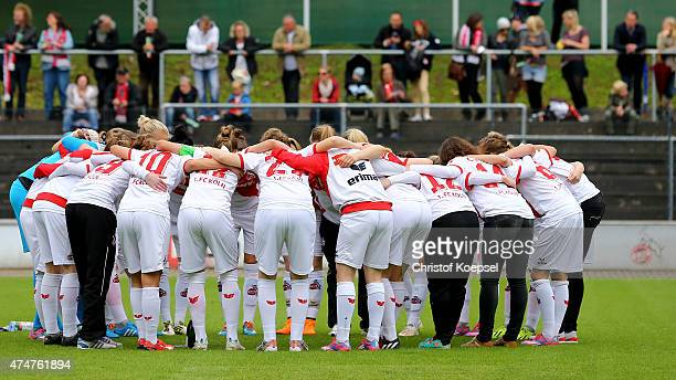 Koeln players huddle prior to the Women's 2nd Bundesliga match between 1 FC Koeln and Bayern Muenchen II at FranzKremer Stadium on May 25 2015 in...