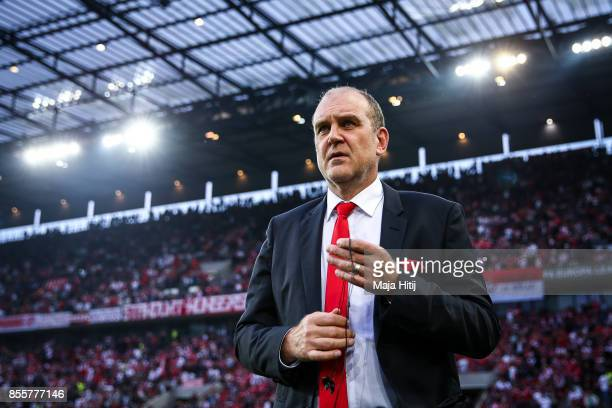 Koeln Sporting director Jorg Schmadtke looks on during the UEFA Europa League group H match between 1 FC Koeln and Crvena Zvezda at...