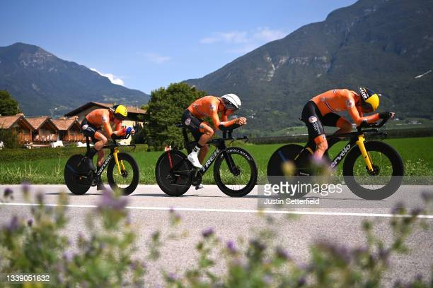 Koen Bouwman, Jos Van Emden, Bauke Mollema and Team Netherlands during the 27th UEC Road Cycling European Championships 2021, Mixed Relay a 44,8km...