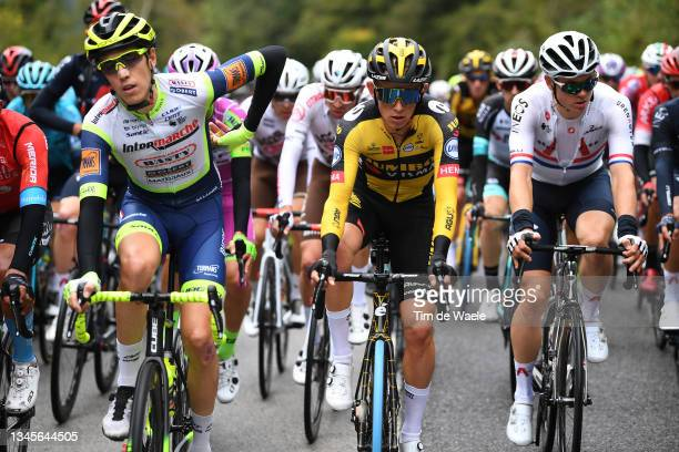 Koen Bouwman of Netherlands and Team Jumbo - Visma and Ben Swift of United Kingdom and Team INEOS Grenadiers compete during the 115th Il Lombardia...