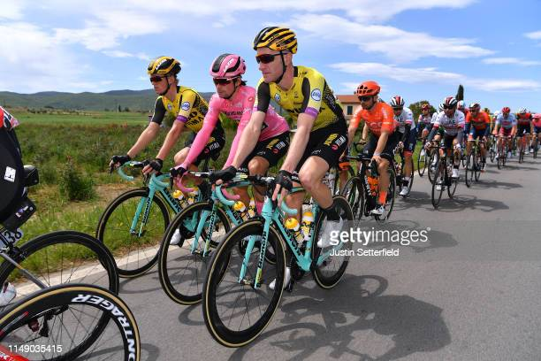 Koen Bouwman of The Netherlands and Team Jumbo - Visma / Primoz Roglic of Slovenia and Team Jumbo - Visma Pink Leader Jersey / Jos Van Emden of The...