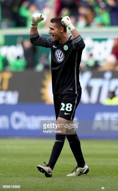Koen Casteels goalkeeper of Wolfsburg celebrate the 2nd goal during the Bundesliga match between VfL Wolfsburg and FC Ingolstadt 04 at Volkswagen...
