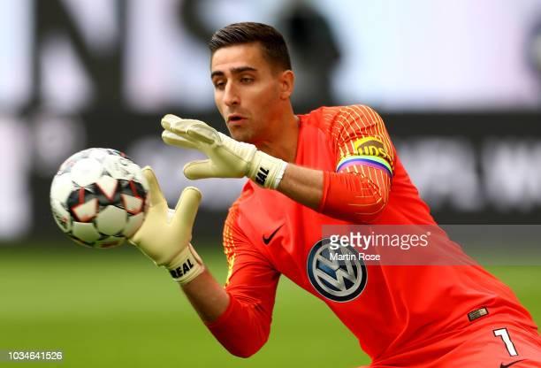 Koen Casteels goalkeeper of Wolfsburg makes a save during the Bundesliga match between VfL Wolfsburg and Hertha BSC at Volkswagen Arena on September...