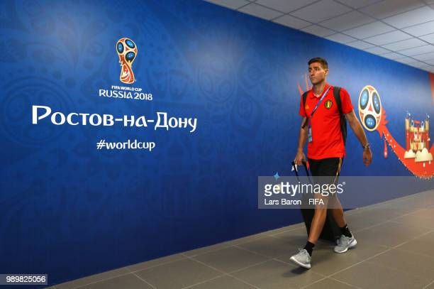 Koen Casteels of Belgium arrives at the stadium prior to the 2018 FIFA World Cup Russia Round of 16 match between Belgium and Japan at Rostov Arena...