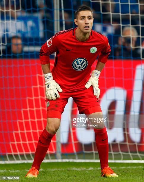 Koen Casteels of VfL Wolfsburg during the German Bundesliga match between Schalke 04 v VFL Wolfsburg at the Veltins Arena on October 28 2017 in...