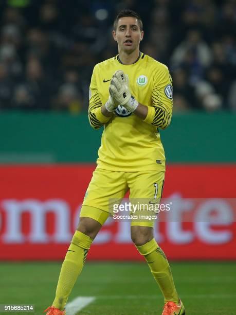 Koen Casteels of VfL Wolfsburg during the German DFB Pokal match between Schalke 04 v VFL Wolfsburg at the Veltins Arena on February 7 2018 in...