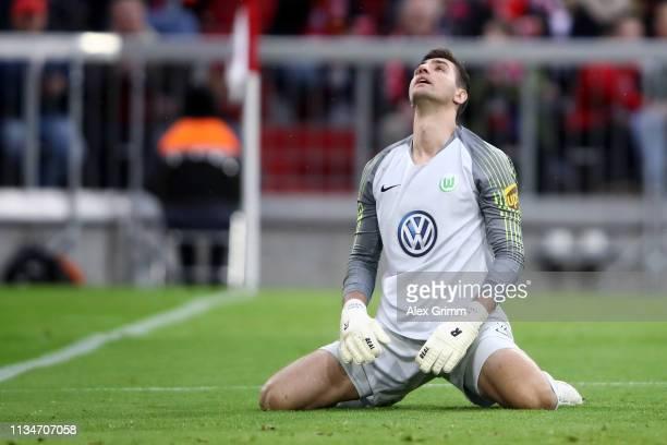 Koen Casteels of Vfl Wolfsburg reacts during the Bundesliga match between FC Bayern Muenchen and VfL Wolfsburg at Allianz Arena on March 09 2019 in...