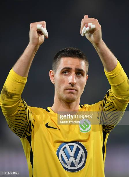 Koen Casteels of Wolfsburg celebrates after the Bundesliga match between Hannover 96 and VfL Wolfsburg at HDIArena on January 28 2018 in Hanover...