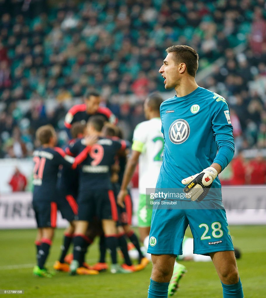 Koen Casteels of Wolfsburg reacts after Kingsley Coman scores his team's first goal during the Bundesliga match between VfL Wolfsburg and FC Bayern Muenchen at Volkswagen Arena on February 27, 2016 in Wolfsburg, Germany.