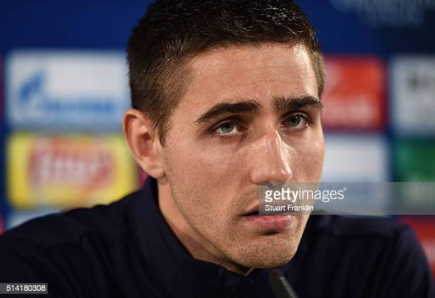 Koen Casteels of Wolfsburg talks during a press conference prior to the UEFA Champions League match against Gent at Volkswagen Arena on March 7 2016...