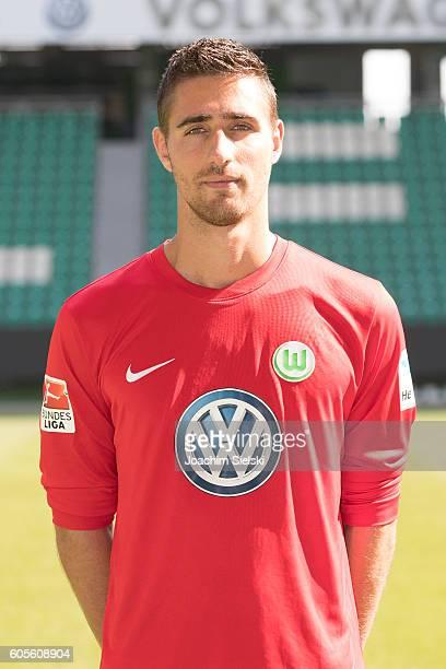 Koen Casteels poses during the official team presentation of VfL Wolfsburg at Volkswagen Arena on September 14 2016 in Wolfsburg Germany