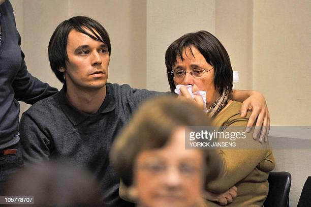 Koen Clottemans brother of Els Clottemans and Martine De Kegel her mother react after hearing the verdict of the jury on October 20 2010 at the...