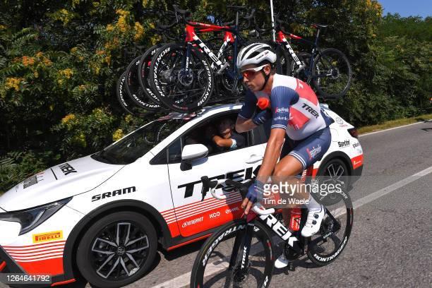 Koen De Kort of The Netherlands and Team Trek - Segafredo / Feed Zone / Bottle / Car / during the 111st Milano - Sanremo 2020 a 305km race from...