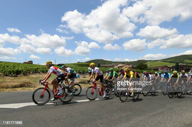 Koen de Kort of The Netherlands and Team TrekSegafredo / Marcus Burghardt of Germany and Team BoraHansgrohe / Giulio Ciccone of Italy and Team...