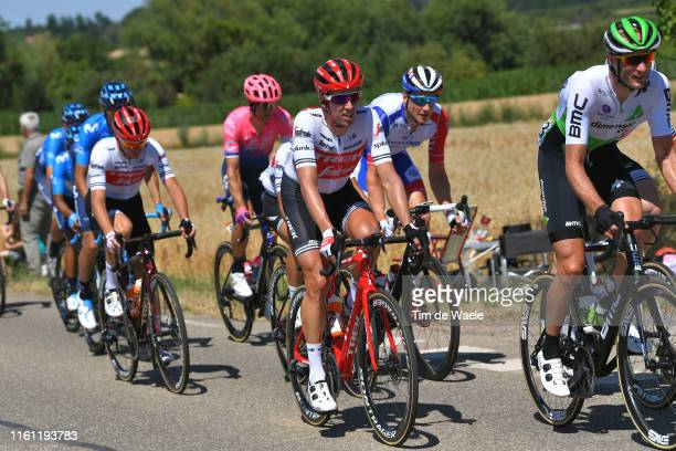 Koen de Kort of The Netherlands and Team TrekSegafredo / Stefan Küng of Switzerland and Team GroupamaFDJ / Steve Cummings of United Kingdom and Team...